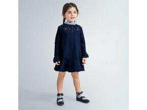 Šaty s dlouhým rukávem kytičky tmavě modré MINI Mayoral