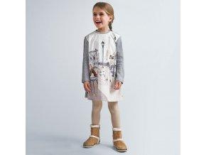 Šaty s dlouhým rukávem světle šedé MINI Mayoral