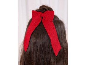 Gumička s pletenou mašlí červená ABEL & LULA