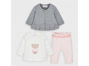 Set mikiny, trika a tepláčků medvídek růžový NEWBORN Mayoral