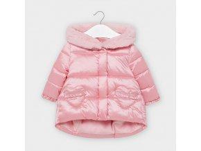Bunda zimní s kožíškem růžová BABY Mayoral
