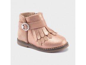 Boty kotníčkové kožené rosegold BABY Mayoral