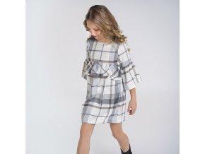 Šaty s volány kostka šedo-smetanové JUNIOR Mayoral