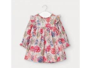 Šaty s dlouhým rukávem a volánkem stromy růžové BABY Mayoral