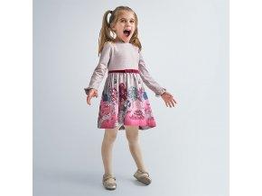 Šaty s dlouhým rukávem holčičky vínové MINI Mayoral