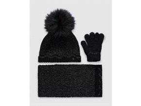 Set čepice šály a rukavic černo-stříbrný Abel & Lula