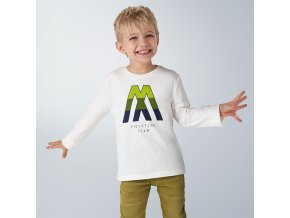 Triko s dlouhým rukávem MM bílo-zelené MINI Mayoral