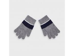 Rukavice prstové s pruhem šedo-modré MINI Mayoral
