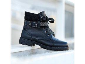 Boty kožené se šněrováním a přezkou černé MINI Mayoral