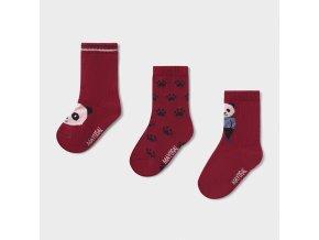 3 pack ponožek panda vínové MINI Mayoral