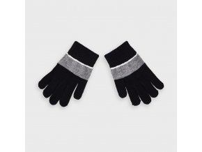 Rukavice prstové s pruhem černo-šedé MINI Mayoral