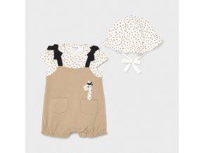 Set overálku a kloboučku žirafka béžový NEWBORN