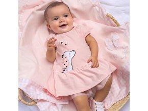 Šaty s krátkým rukávem pejsek světle růžové NEWBORN Mayoral