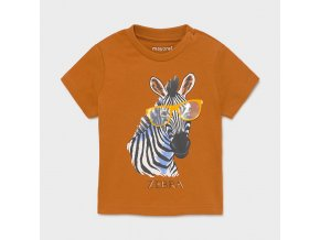 Triko s krátkým rukávem zebra s brýlemi hnědé BABY Mayoral