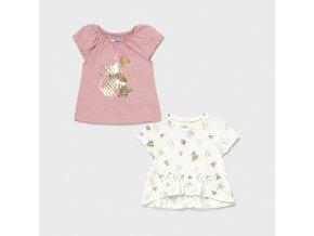 2 pack triček s krátkým rukávem kočičky světle růžové BABY Mayoral