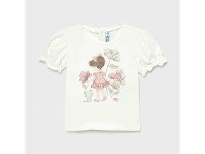 Tričko s krátkým rukávem holčička s květinami bílo-růžové BABY Mayoral