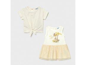 Šaty s tričkem žirafka smetanové BABY Mayoral