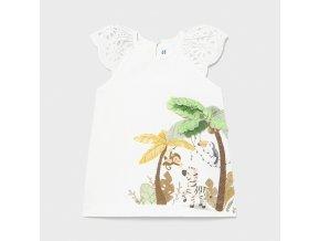 Šaty bavlněné s krátkým rukávem safari bílé BABY Mayoral