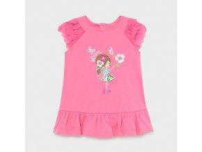 Šaty bavlněné s krátkým rukávem holčička tmavě růžové BABY Mayoral