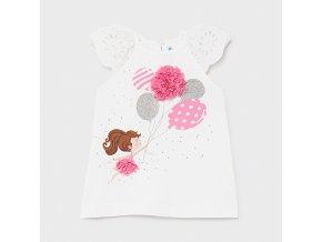 Šaty bavlněné s krátkým rukávem holčička růžová BABY Mayoral