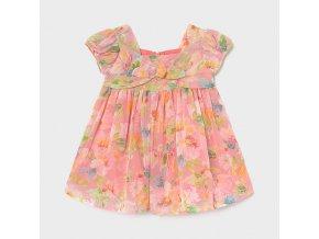 Šaty s mašlí šifónové květiny meruňkové BABY Mayoral