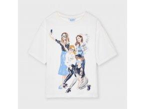 Tričko s krátkým rukávem selfie girls bílo-modré JUNIOR Mayoral
