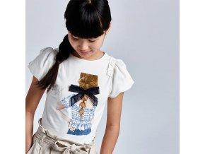 Tričko s krátkým rukávem dívka s mašlí bílo-modré JUNIOR Mayoral