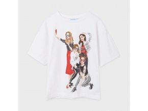 Tričko s krátkým rukávem selfie girls bílo-červené JUNIOR Mayoral