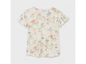 Tričko s krátkým rukávem úpletové květinky meruňkové JUNIOR Mayoral