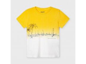Tričko s krátkým rukávem plachetnice  žluto-bílé MINI Mayoral