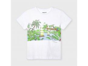 Tričko s krátkým rukávem Amazonie bílo-zelené MINI Mayoral