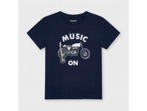 Tričko s krátkým rukávem Music on tmavě modré MINI Mayoral