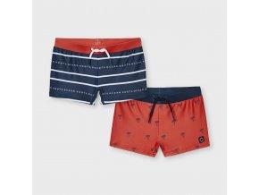 Plavky s nohavičkou palmičky modro-červené MINI Mayoral