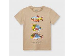 Tričko s krátkým rukávem ryby béžové MINI Mayoral