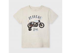 Tričko s krátkým rukávem Music on béžové MINI Mayoral