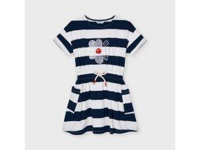 Šaty bavlněné pruhy kytička tmavě modré MINI Mayoral