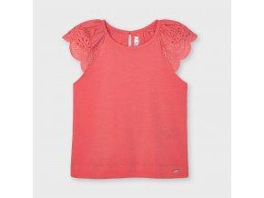 Tričko s krátkým rukávem krajka basic meruňkové MINI Mayoral