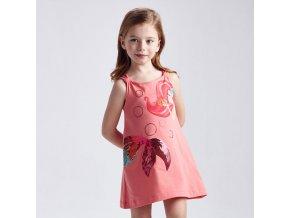 Šaty bavlněné mořská panna meruňkové MINI Mayoral