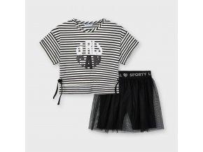 Set trička a šortek s tylovou sukní černý MINI Mayoral