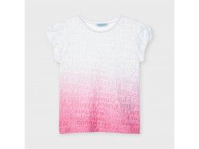 Tričko s krátkým rukávem ombré růžovo-bílé MINI Mayoral