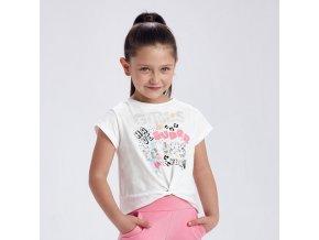 Tričko s krátkým rukávem GIRLS bílo-růžové MINI Mayoral