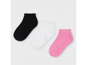3 pack nízkých ponožek tmavě růžové MINI Mayoral
