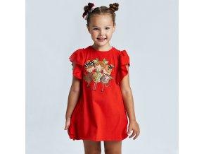 Šaty bavlněné pruhaté ovocné holčičky červené MINI Mayoral