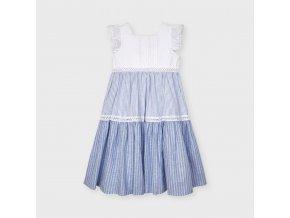 Šaty maxi dlouhé bavlněné modro-bílé MINI Mayoral
