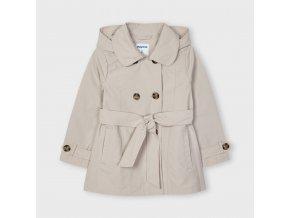 Kabátek s páskem a kapucí béžový MINI Mayoral