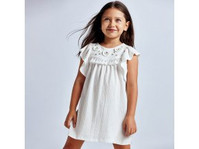 Šaty s ozdobnými aplikacemi bílé MINI Mayoral