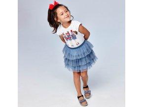 Set trička s krátkým rukávem a tylové sukně dívky modrý MINI Mayoral