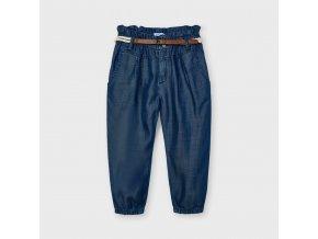 Kalhoty s vysokým pasem a páskem tencel tmavě modré MINI Mayoral