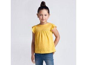 Tričko s krátkým rukávem úplet hořčicové MINI Mayoral