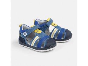 Sandále kožené páskové modro-žluté BABY Mayoral